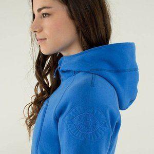 lululelmon Scuba II Hoodie Chakra Design in Pipe Dream Blue Size 8